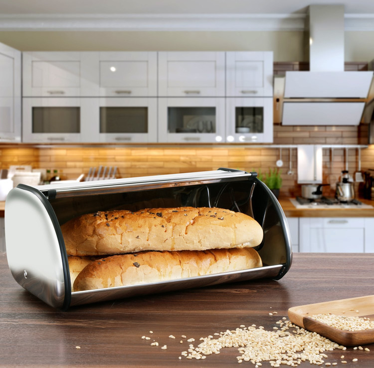 Bread Storage Box, Food Keeper Bread Bin, Stainless Steel Construction With  Roll Up Lid