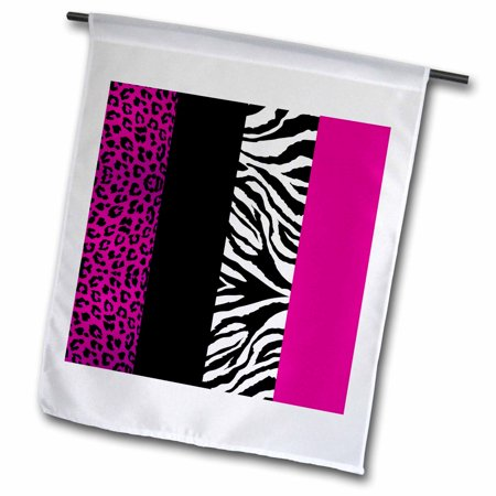 3dRose Pink Black and White Animal Print - Leopard and Zebra - Garden Flag, 12 by 18-inch