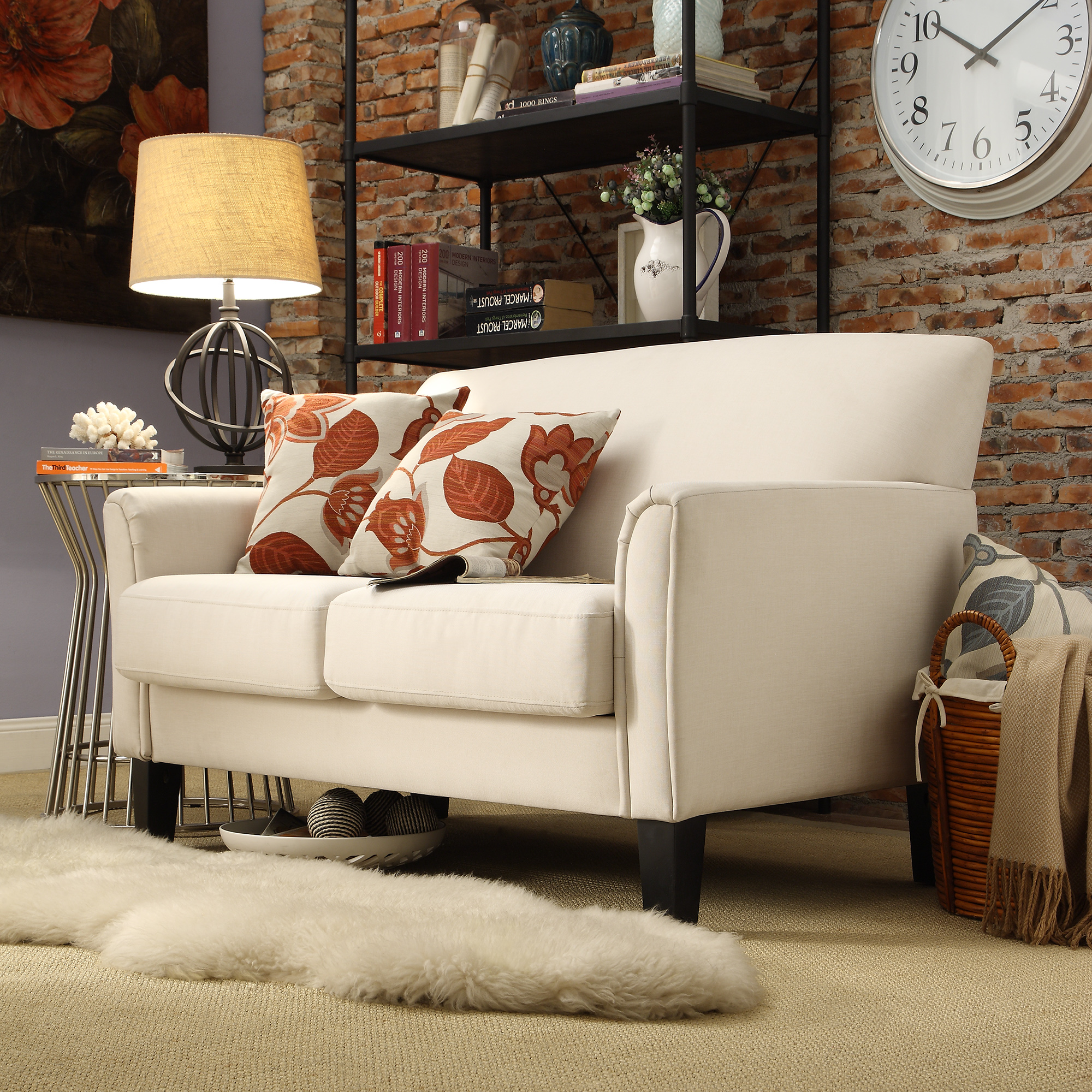 Weston Home Tribeca Living Room Loveseat with Espresso Feet, White Linen Loveseat