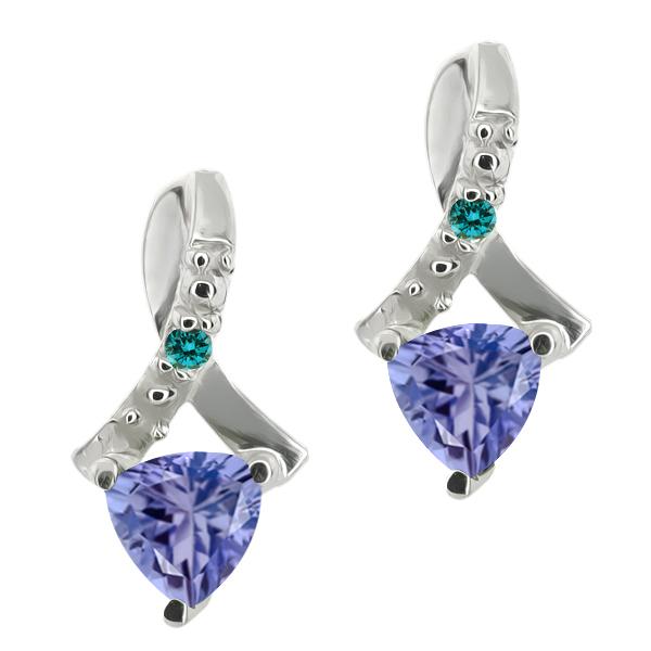 0.44 Ct Trillion Blue Tanzanite and Blue Diamond 14k White Gold Earrings