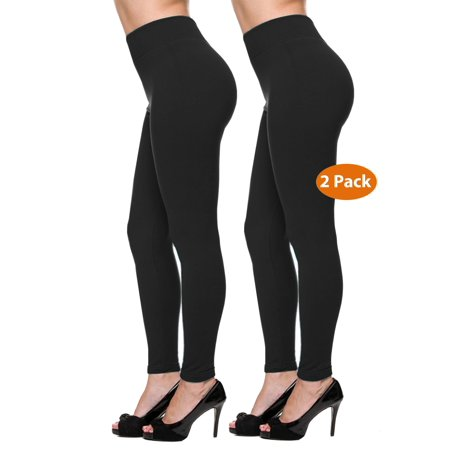 2 Pack Women Warm Fleece Lined Full Length Leggings Flattering Front Seam