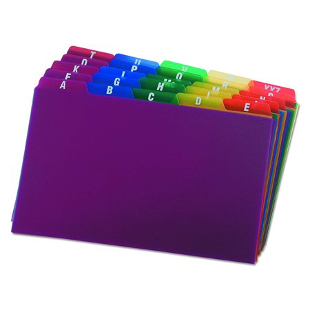 Az Poly Card Guides - Poly Index Card Guides, Alphabetical, A-Z, Assorted Colors, 5