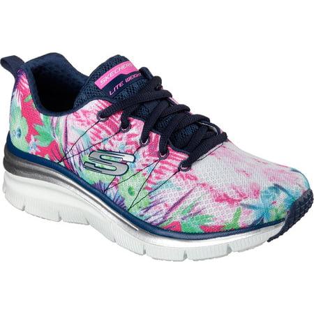 18b36b294da8 Skechers - 12708 Navy Flower Skechers Shoe New Women Memory Foam Sport Fashion  Comfort Mesh 12708NVMT - Walmart.com
