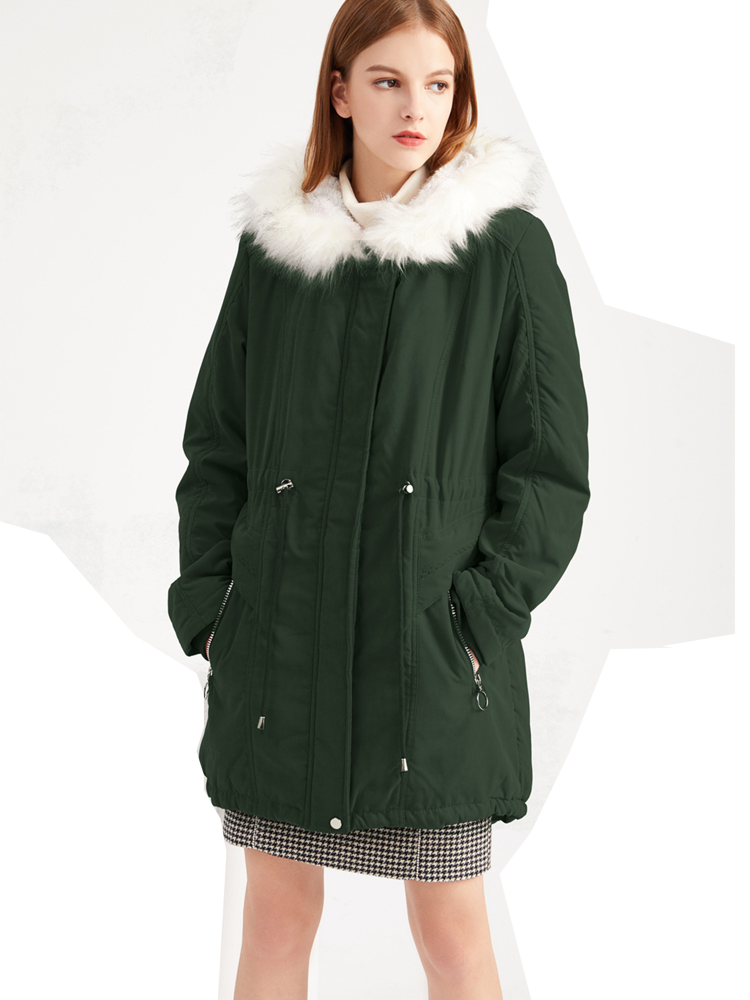 Womens Thicken Mid Long Down Cotton Casual Parka Slim Fit Winter Warm Overcoat