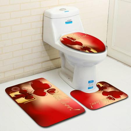 DZT1968 3PCS Valentine's Day Pattern Non Slip Toilet Seat Cover Rug Bathroom Set Decor (Decor Toilet)