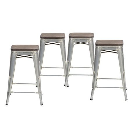 Wondrous Buschman Set Of Four Galvanized Wooden Seat 24 Inches Counter High Tolix Style Metal Bar Stools Indoor Outdoor Stackable Pdpeps Interior Chair Design Pdpepsorg