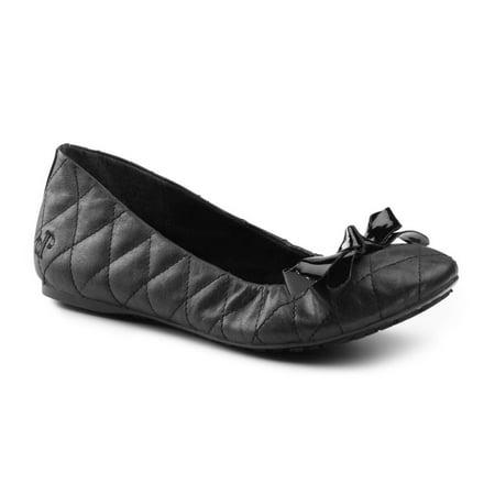 Lila SureGrip Womens Elsa Black Quilted Ballet Flat Slip Resistant Work Shoes - Elsa Girls Shoes