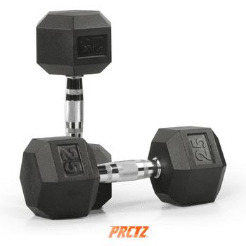 PRCTZ Rubber Encased 25 lbs Hex Dumbbell (Pair)