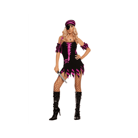 "Elegant Moments Women's ""Shipwrecked Wench"" Black Light Receptive. 4 pc costume includes dress, arm bands, head scarf and eye patch. Black, l"