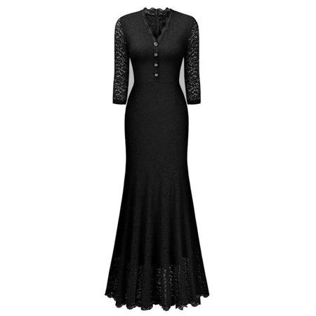 Women Lace Long Maxi Formal Evening Bridesmaid Dress Wedding Cocktail Party Dresses 3/4 Sleeve Floor Length Ball Gown ()