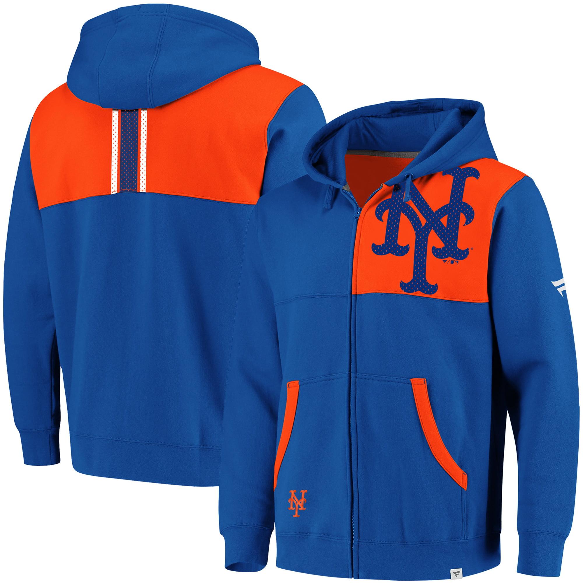 Men's Fanatics Branded Royal/Orange New York Mets Big & Tall Iconic Bold Full-Zip Hoodie