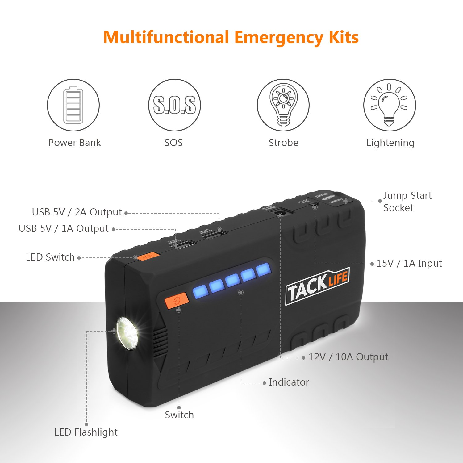 17c69d77a200b7 TACKLIFE T6 Car Jump Starter - 600A Peak 16500mAh, 12V Auto Battery Jumper  with Quick-charge, Booster (up to 6.2l gas, 5.0l diesel), Portable Power  Pack for ...