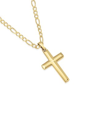 """14K Gold Plated Sterling Silver Cross Pendant Italian Made Figaro Chain Necklace - 080 3.0mm - 16"""""""