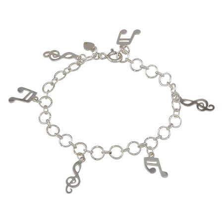 Sterling Silver 925 Musical Notes Charm Link Bracelet (Sterling Silver Charm Link Bracelet)