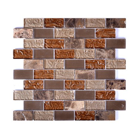 EKBInnovations Mesh-Mounted Frosted Glass Mosaic Wall Tile (Pack of