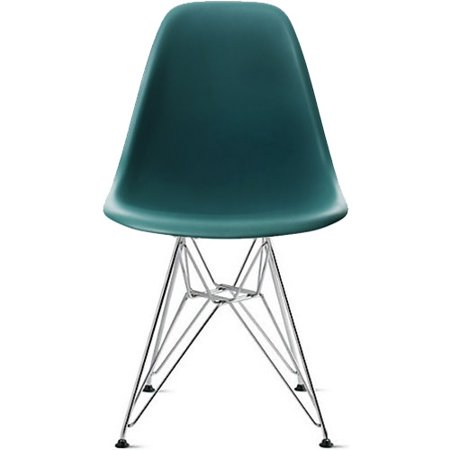 2xhome Teal Eames Style Side Chair Chromed Wire Legs