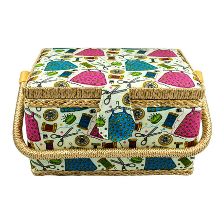 Medium Size Sewing Basket w/ Handy Insert and Sewing (Sewing Cabinet Insert)
