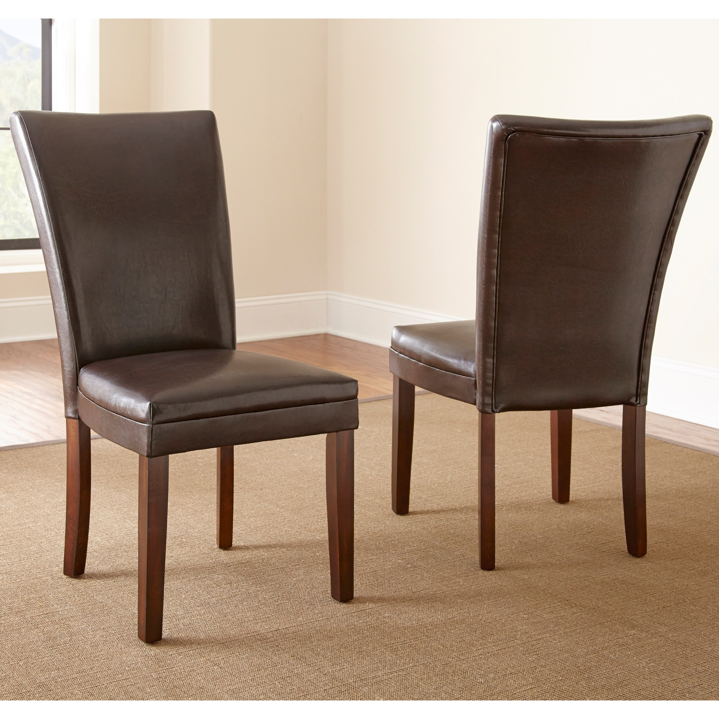 Greyson Living  Hampton Brown Bonded Leather Dining Chair with Memory Foam Seat (Set of 2)