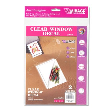 Printable Window Cling Clear 8.5X11 Inkjet 2Sheets