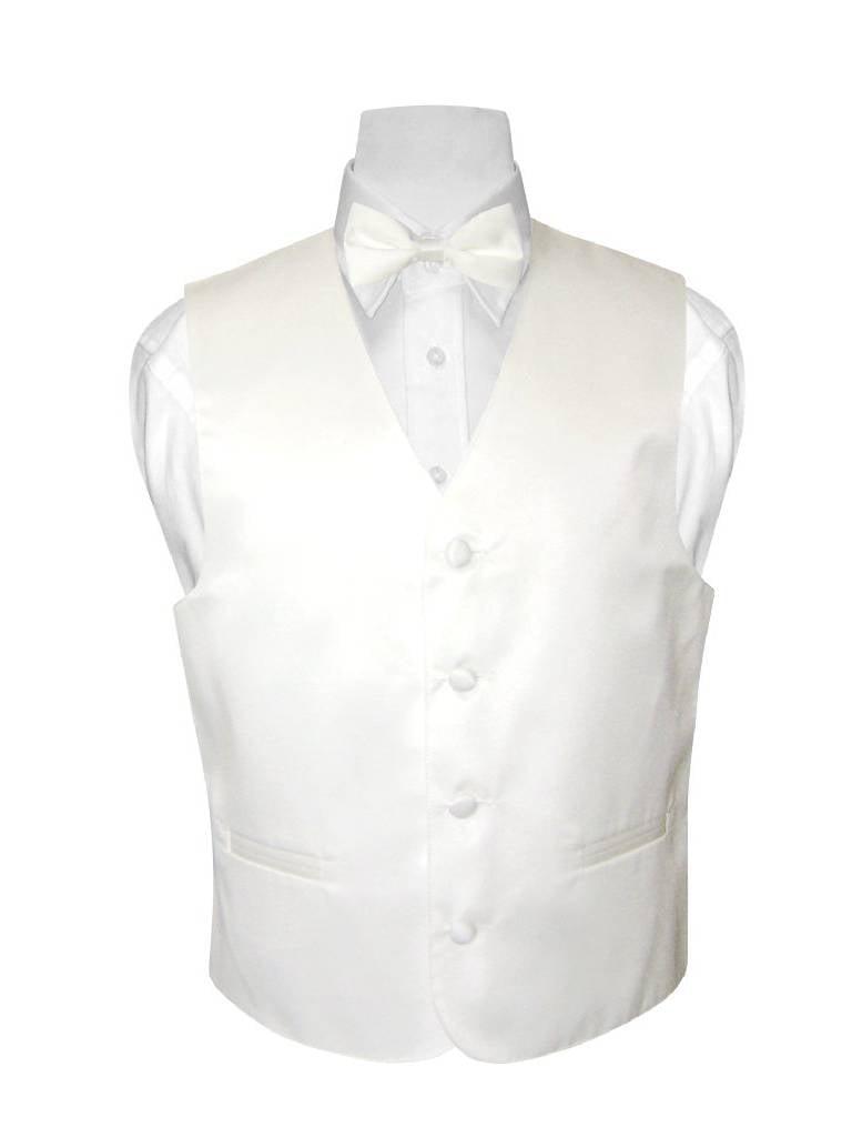 BOY'S Dress Vest & BOW Tie Solid WHITE Color BowTie Set