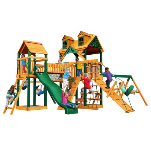 Gorilla Playsets Malibu Pioneer Peak Swing Set with Timber Shield by Overstock