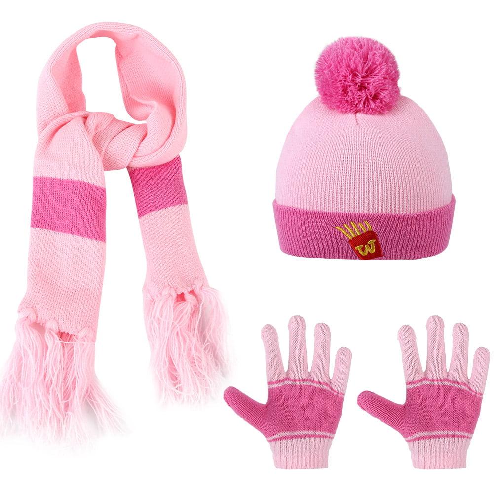 Kids Knitted Hat Scarf-Vbiger 3 Pieces/Set Cartoon Kids Winter Knitted Scarf Gloves Hat Sets Beanie Gloves Girls Boys