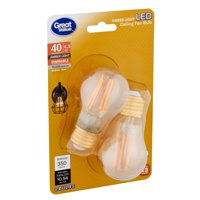 Great Value LED 4.5 Watts A15 Amber Light Medium Base Ceiling Fan Bulbs, 2 count
