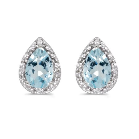 Aquamarine Pear Earrings - 14K White Gold Pear Aquamarine and Diamond Earrings