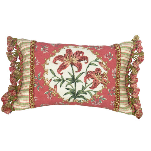 123 Creations Floral Tiger Lily Petit Point Wool Lumbar Pillow