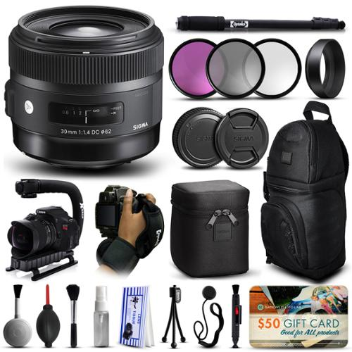 "Sigma 30mm F1.4 DC HSM Art Lens for Nikon (301306) with 3 Piece Filter Set (UV-CPL-FLD) + Stabilizer Handle + Sling Backpack + 67"" Monopod + Wrist Strap + Cleaning Kit + $50 Gift Card"