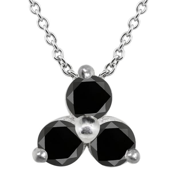 0.36 Ct Round Black AAA Diamond 18K White Gold Pendant