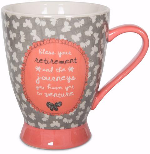 Pavilion Gift Company- Butterfly 18 oz. Pink and Gray Retirement Mug