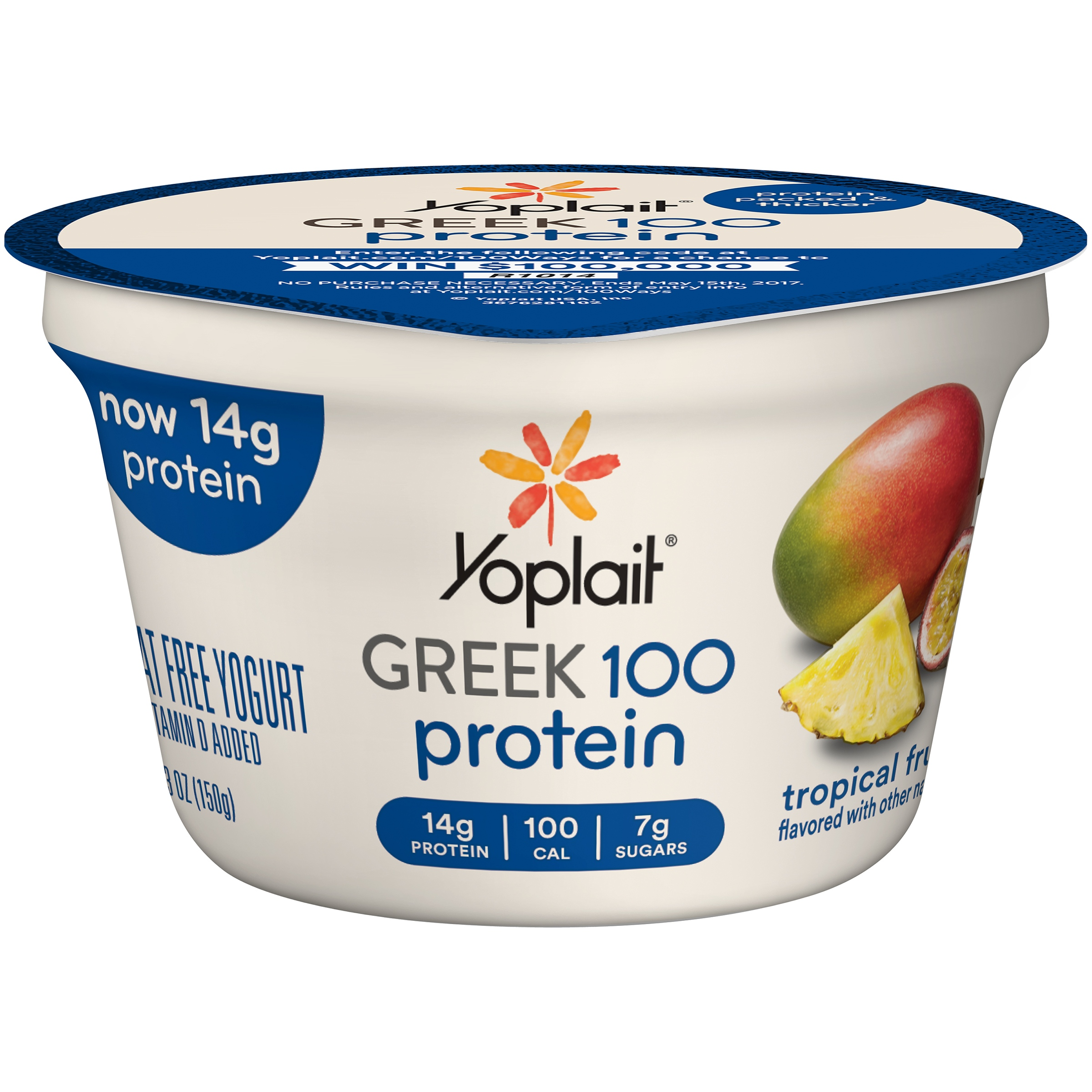 Yoplait® Greek 100 Yogurt Tropical Fruit 5.3 oz Cup