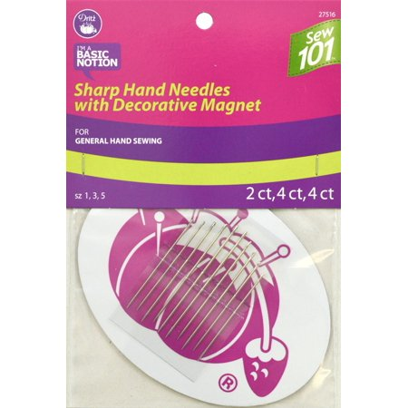 Dritz Sew 101 Sharps Hand Needles W/Decorative Magnet 10/Pkg-Assorted Sizes