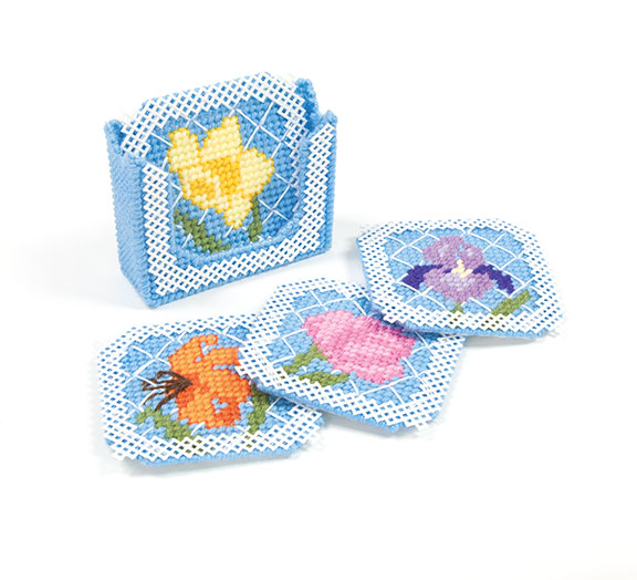 Mary Maxim Floral Trellis Coasters Set with Holder Kit