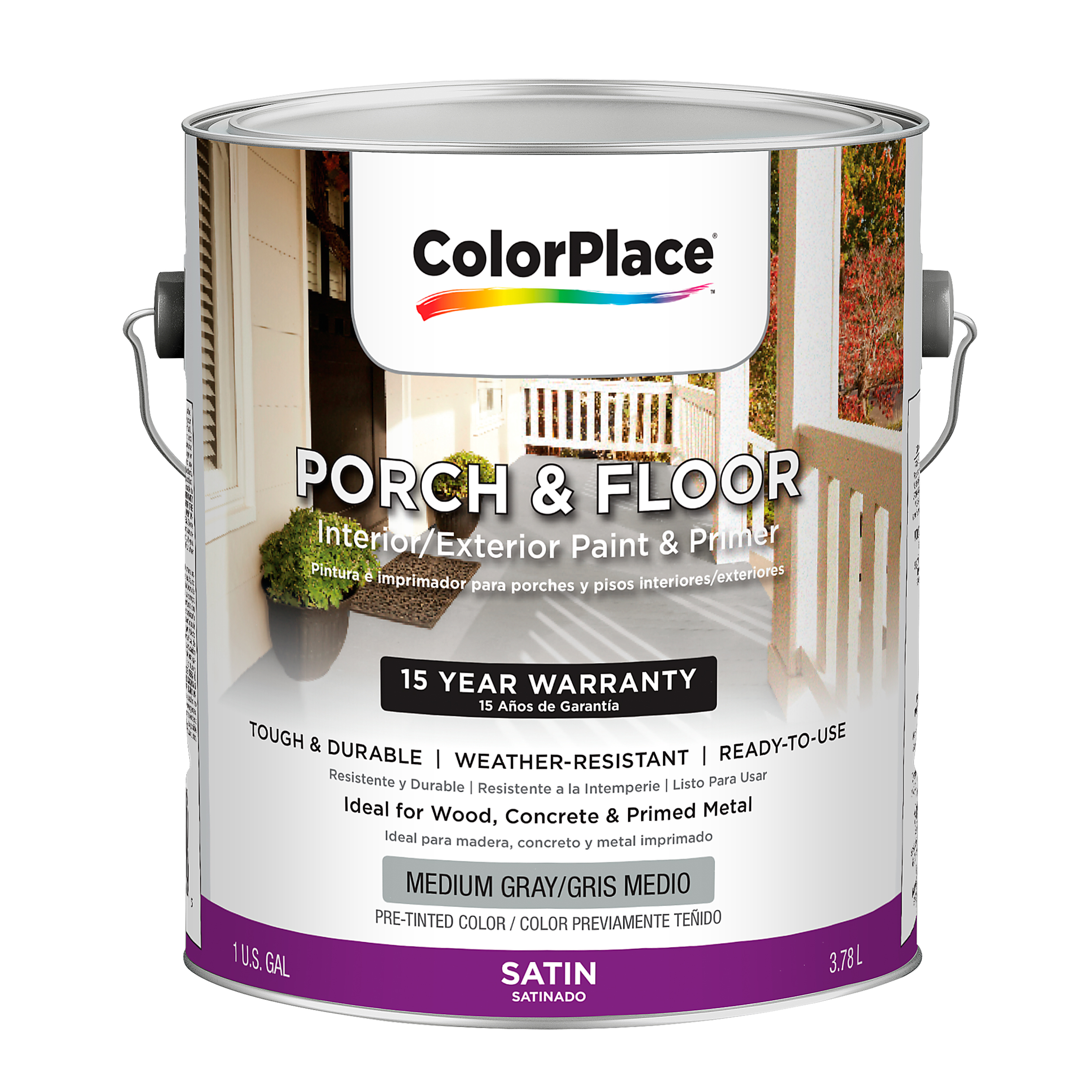ColorPlace Satin Interior/Exterior Porch and Floor Medium Gray Paint and Primer, 1-Gal