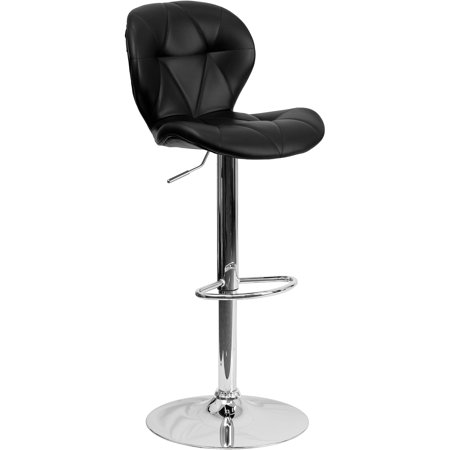 Flash Furniture Contemporary Tufted Black Vinyl Adjustable Height Bar Stool with Chrome Base, 2 Pack