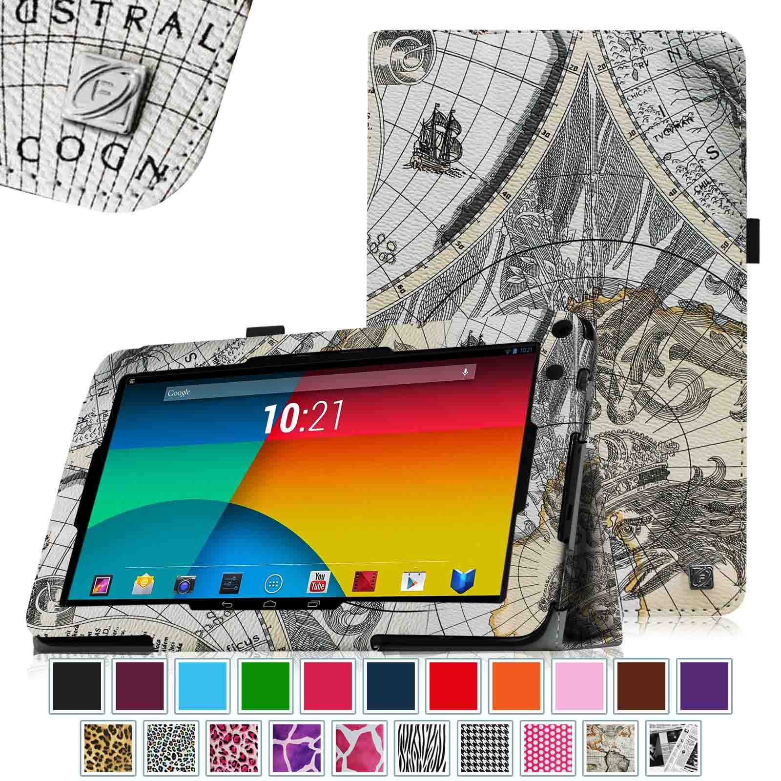 "RCA 9"" Tablet Case - Fintie Premium Leather Cover with Stylus Holder for RCA 9"" Tablet (Model# RCT6691W3), Map Design"
