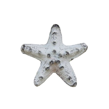 "Rustic Whitewashed Cast Iron Starfish Paperweight 3"""
