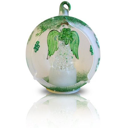 Irish Angel Ornament - LED Glass Christmas Tree Ornament with Irish Angel & Shamrocks - Color Changing Lights - White Frosted Glass with Hand Painted Green Glitter Shamrocks 3.5 Inch Diameter- St. Patricks Day Decor