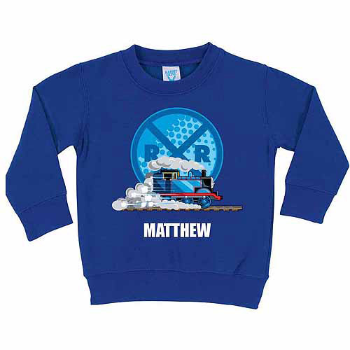Personalized Thomas and Friends Railroad Crossing Toddler Boy Royal Blue Pullover Sweatshirt