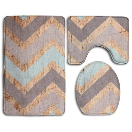 Chaplle Vintage Wood Chevron 3 Piece Bathroom Rugs Set