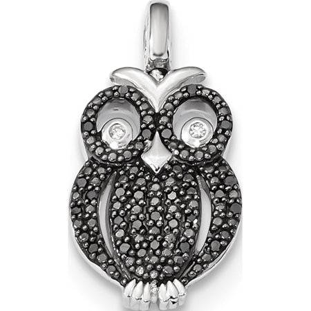 Leslies Fine Jewelry Designer 925 Sterling Silver Rhodium 0.2ct. Blk & Wht Dia. Reversible Owl (11.5x21.7mm) Pendant Gift
