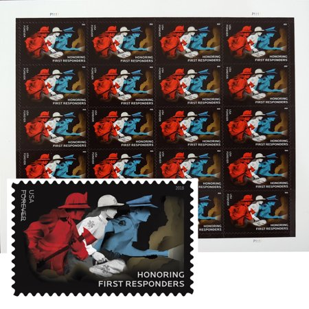 Honoring First Responders 1 Sheet of 20 Forever USPS First Class Postage Stamps Hero Police Fire Fighter EMT Doctors Nurses (20 Stamps) Stamp Collecting First Day Covers