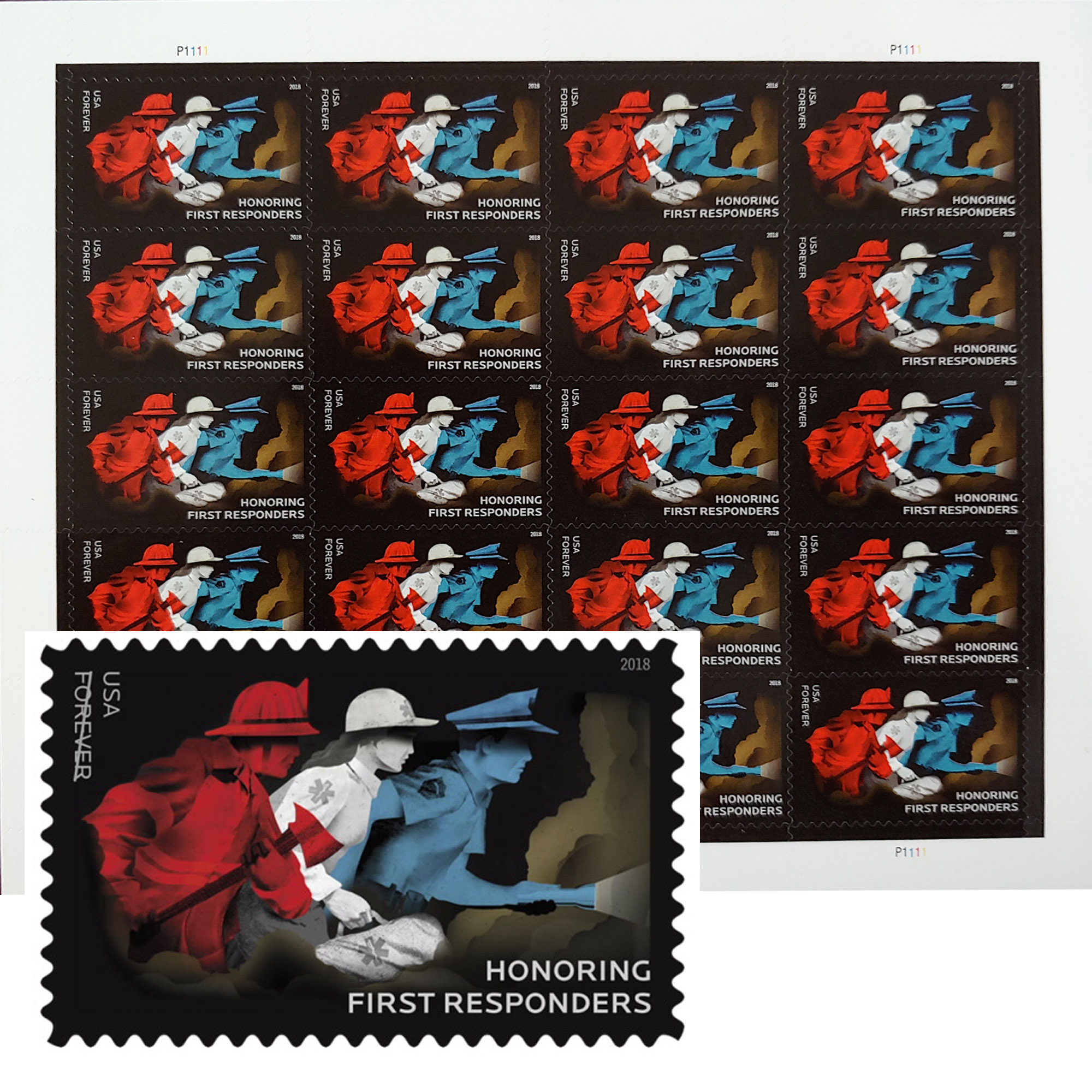 Honoring First Responders 1 Sheet of 20 Forever USPS First Class Postage Stamps Hero Police Fire Fighter EMT Doctors Nurses (20 Stamps)