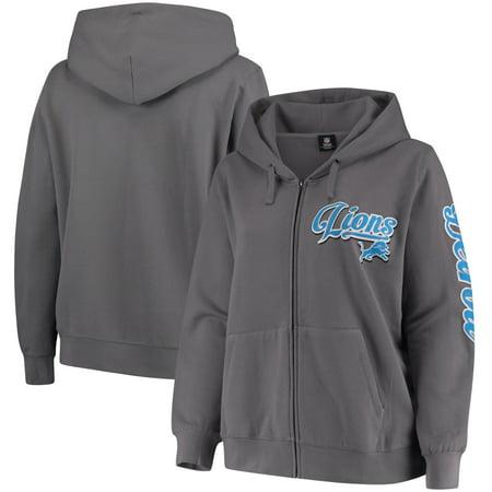 Detroit Lions Mens Sweatshirts - Detroit Lions 5th & Ocean by New Era Women's Plus Size Script Full-Zip Hoodie - Charcoal