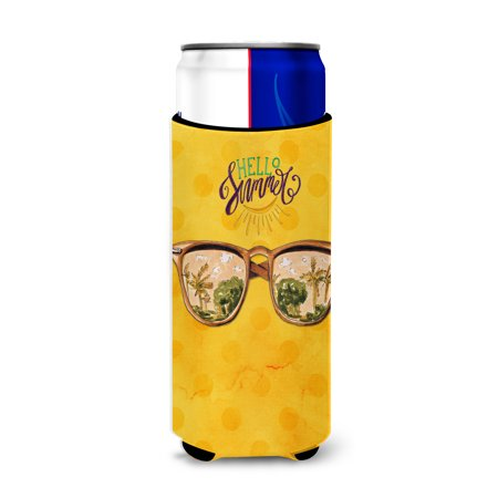 Beach Sunglasses Yellow Polkadot Michelob Ultra Hugger for slim cans (Where Can I Buy Reader Sunglasses)