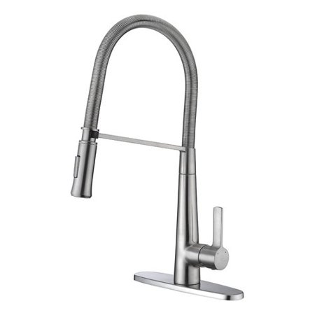 Anzzi Apollo Single Handle Pull Down Sprayer Kitchen Faucet in Brushed