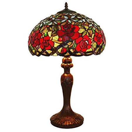 Amora Lighting Am1535tl16 Tiffany Style Res Roses Table Lamp