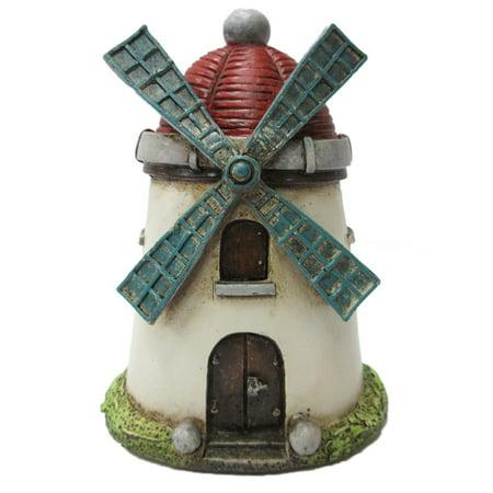 (Red and White Miniature Windmill Fairy Garden Figurine Accessory Mini New)